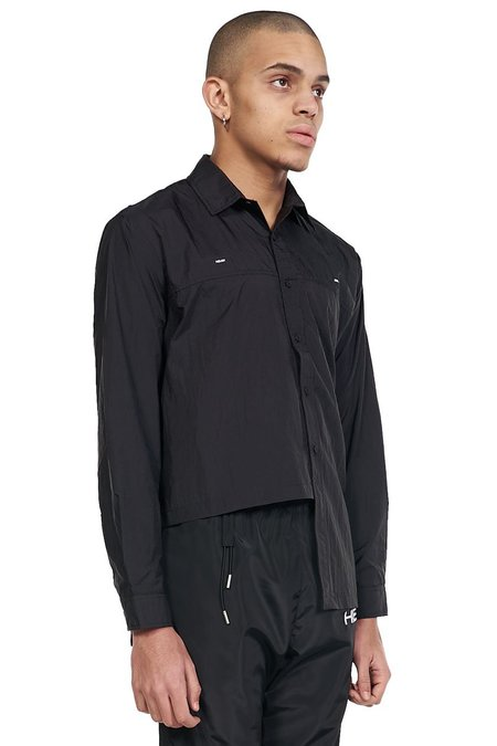 Heliot Emil Asymmetric Hem Technical Shirt - black
