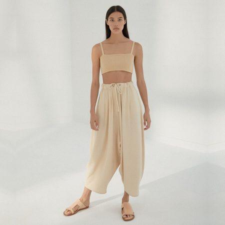 Mónica Cordera Maxi Linen Pants - Sand