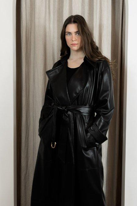 Nanushka Amal Vegan Leather Trench Coat - Black