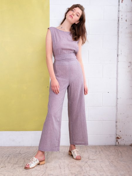 FME Apparel Tied To Me Jumpsuit - Mauve Houndstooth