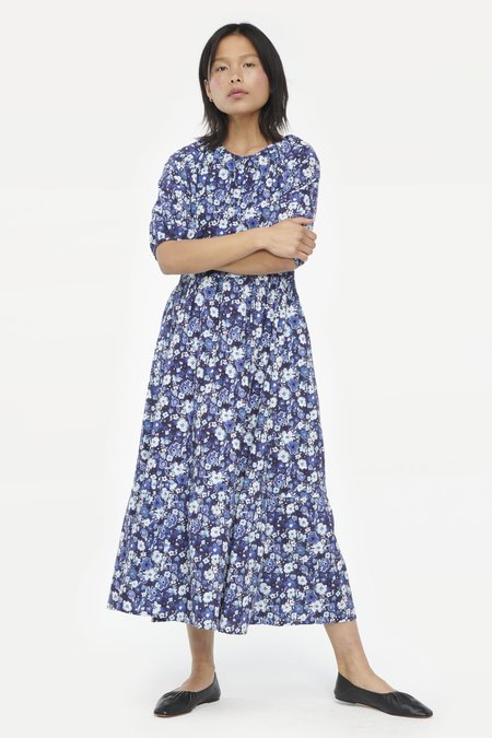 Lacausa Cass Dress - Sapphire Watercolor Floral