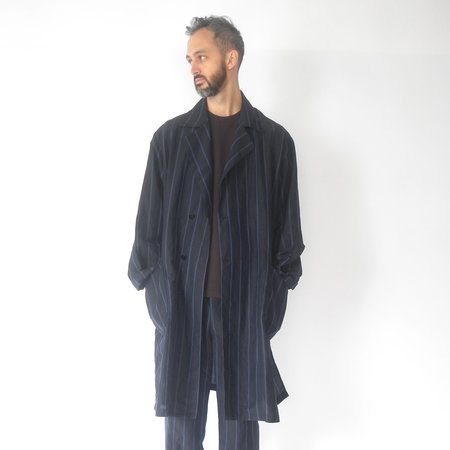 Still By Hand Wrap coat - navy stripe