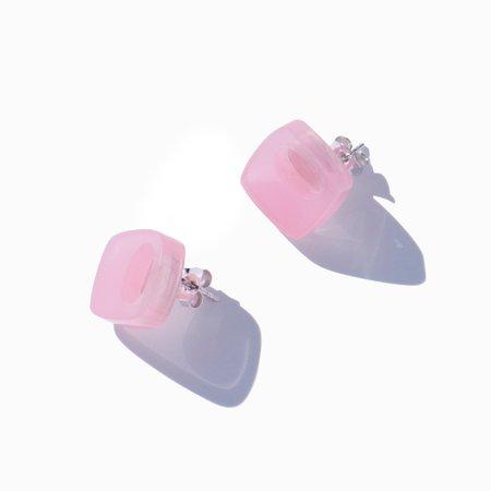 NG YU WANG Cuneo Earrings - Pink/Silver