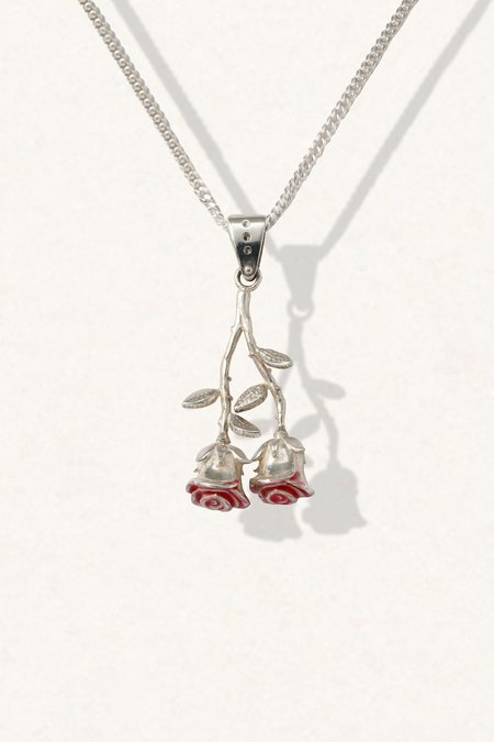 The Silver Stone Twin Rose Necklace
