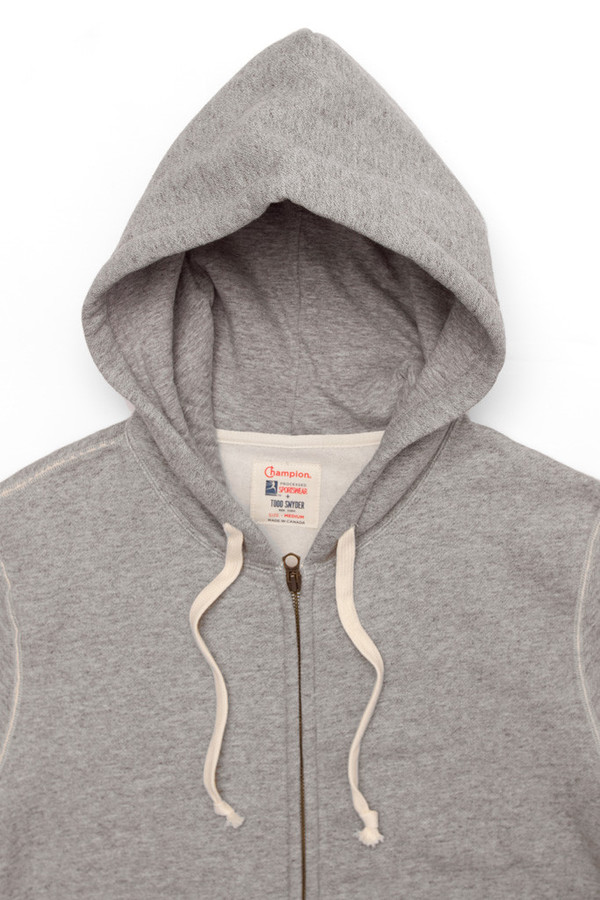 Men's Todd Snyder x Champion Zip Hoodie Grey Mix