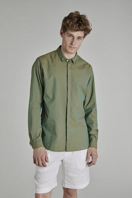 Delikatessen Cute Round Collar Shirt with Concealed Buttons - Green Changant