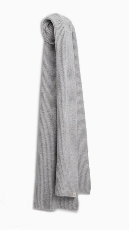 Rag & Bone Ace Cashmere Ribbed Scarf - Light Grey