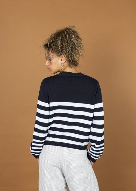 MJ. Watson Striped Roundneck Pullover - Navy Stripe