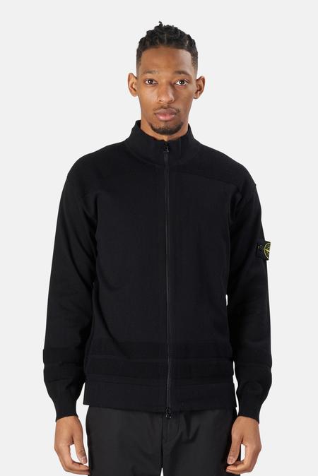 Stone Island Cotton Knit Cardigan Sweater - Black
