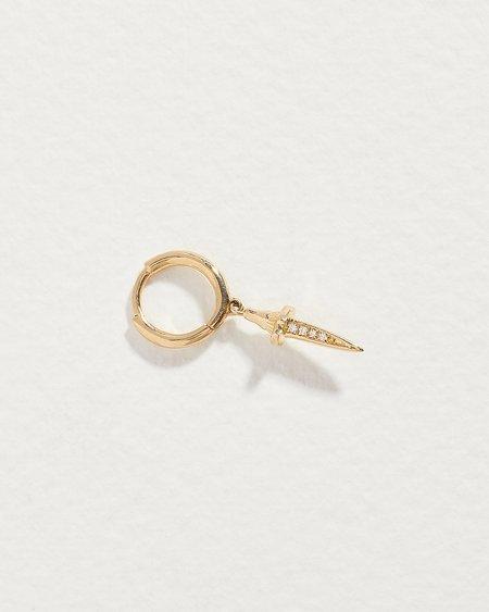 Pamela Love Dagger Huggie earrings -  14k yellow gold/diamond