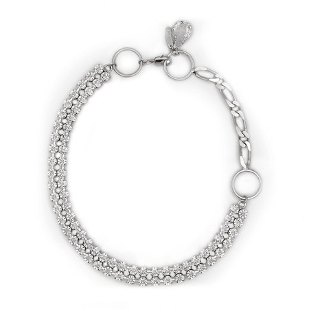 Joomi Lim Chain, Hoop & Crystal Necklace - Rhodium