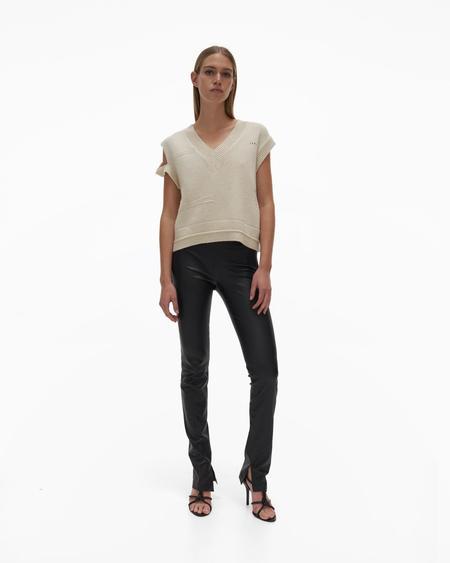 Helmut Lang Slit Leather Pant - Onyx
