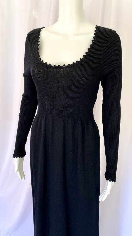 Pre-loved 60s Goldworm Knit Empire Waist Dress - black