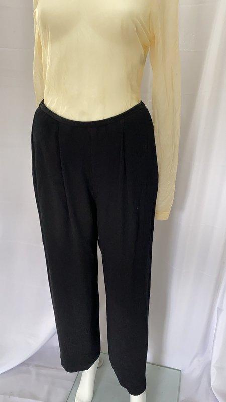 pre-loved Sheer Silk Cropped Pants - black