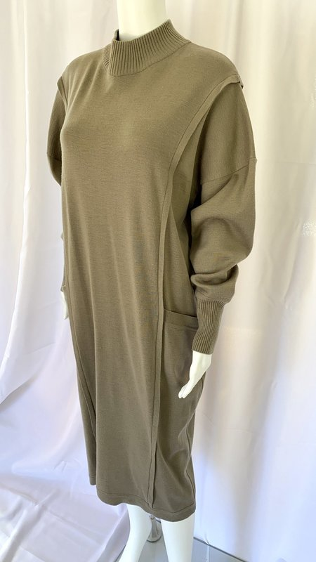 pre-loved Wool Mock neck Dress - taupe