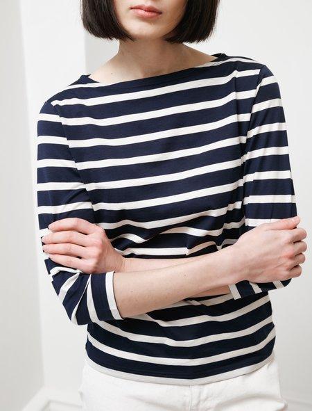 Sunspel 3/4 Sleeve Striped Boatneck T-Shirt - Navy/Ecru