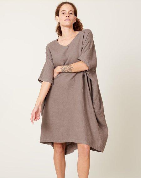Black Crane V Neck Dress - Grey