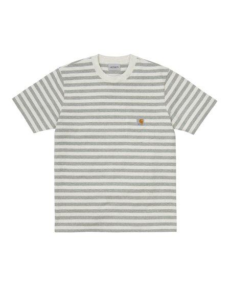 CARHARTT WIP Camiseta de rayas Scotty - White Heather/Grey Heather