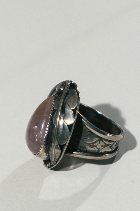 Morgaine Faye Silver Leaf and Stone Ring - Rose Quartz