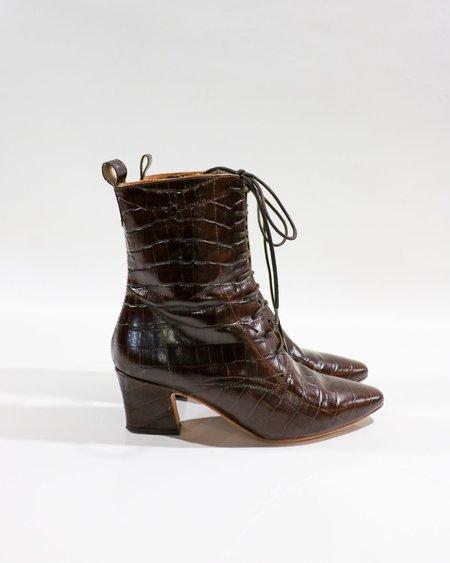 Pre-loved Miista Zelie Croc-Embossed Lace-Up Boots - Brown