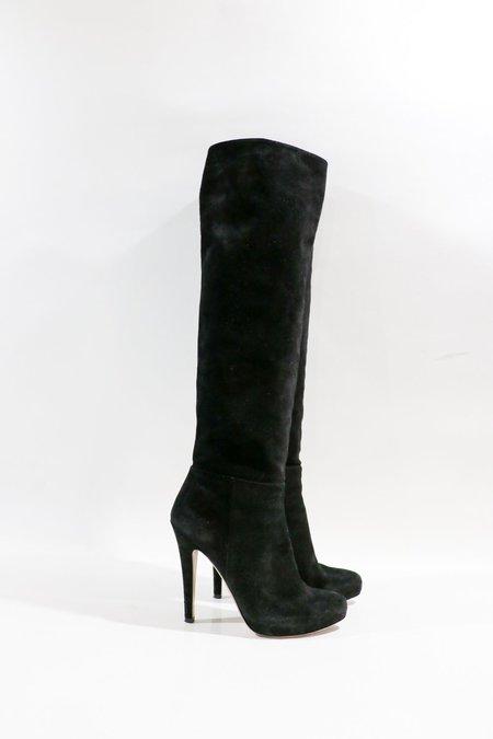 [pre-loved] Prada Suede Platform Boots - Black