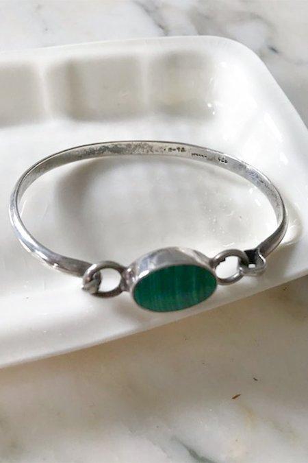 Vintage Mexican Silver and Malachite Bracelet