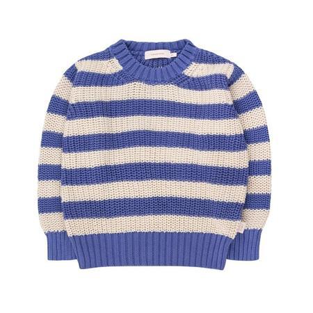 Kids Tinycottons Stripes Sweater - Iris Blue/Light Cream