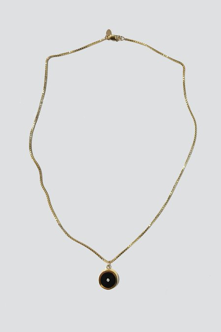Legier Black Onyx with Diamond Round Pendant Necklace - Gold