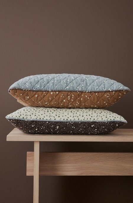 Oyoy Quilted Aya Cushion - Brown/Off White