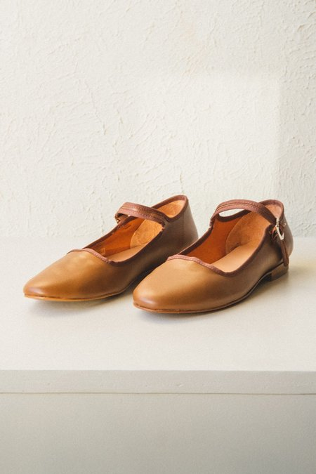 Caron Callahan Ellie Nappa Leather Mary Jane - Cognac