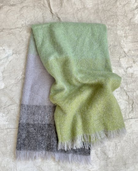 Cuttalossa & Co. Mohair blend Throw Blanket - Gradient Green/Gray
