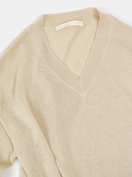 Erica Tanov flat knit cotton v-neck pullover - natural
