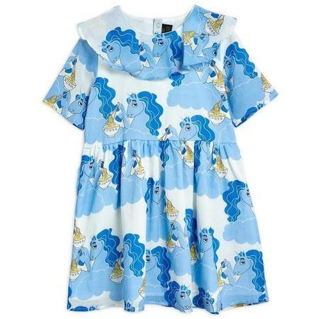 kids mini rodini unicorn noodles woven short sleeve dress - blue