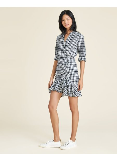Veronica Beard Sherry Crinkled Plaid Minidress - Off White/Navy