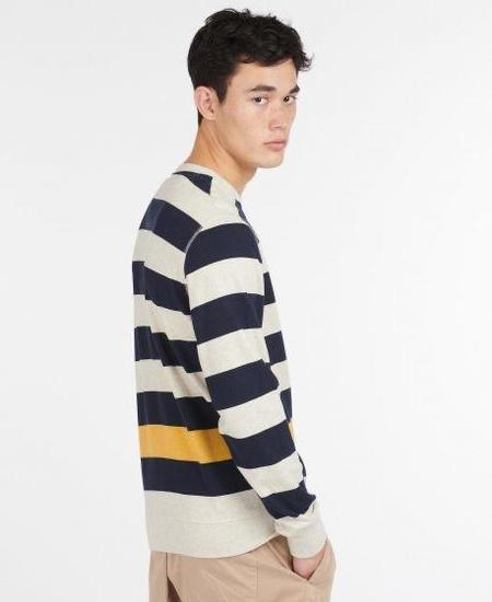 BARBOUR EARL STRIPE CREW sweater - NAVY/White Label
