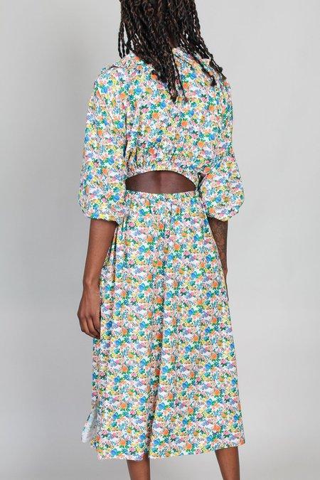 Tibi Sabine Floral Allonge Collar Dress - Light Stone Multi