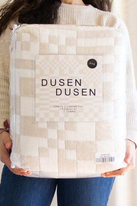 Dusen Dusen Check Coverlet quilt - beige/white