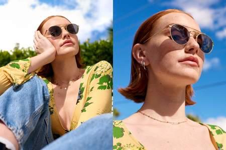 Crap Eyewear The Tuff Safari sunglasses - Brushed Gold/Crystal/Polarized Grey