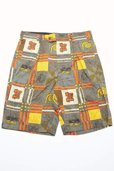 Engineered Garments Cotton African Print Sunset Short - Black/Gold