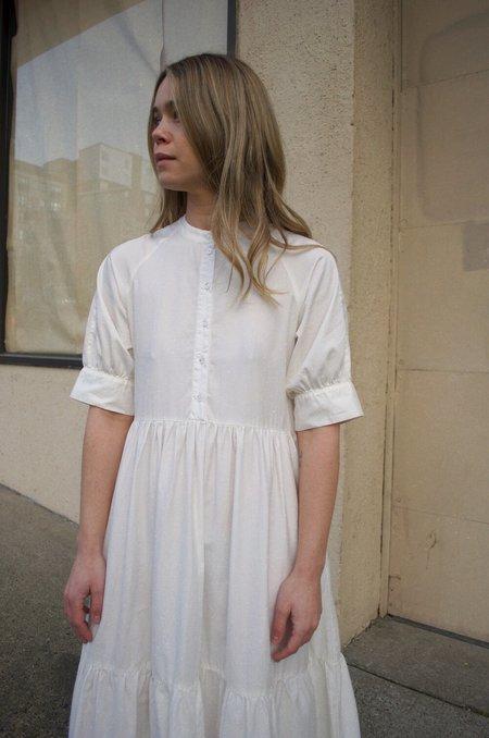 Ali Golden Raglan Tiered Dress - White