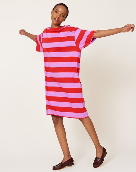 Kowtow T Shirt Dress - Red/Purple Stripe