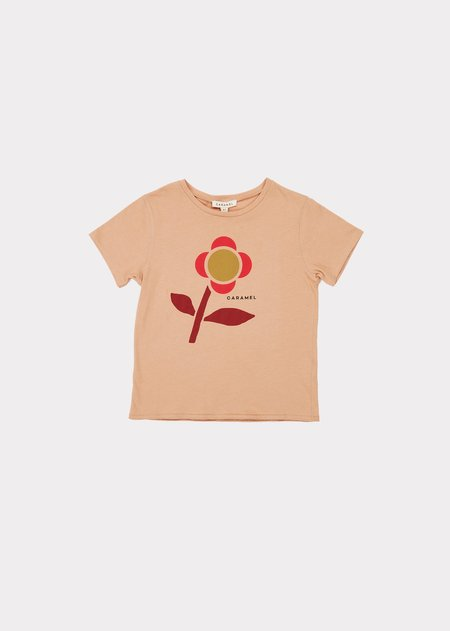 kids Caramel Otter T-Shirt - Camel Printed Shapes