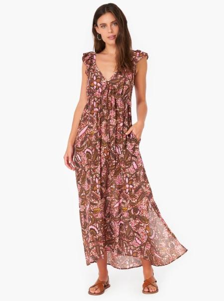 Xirena Leyla Dress - brown/pink batik print