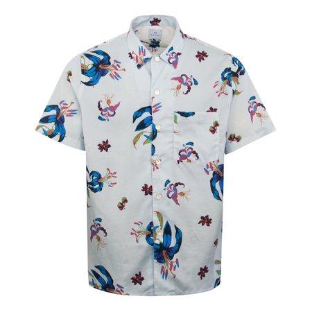 PAUL SMITH Floral SS Shirt - Blue