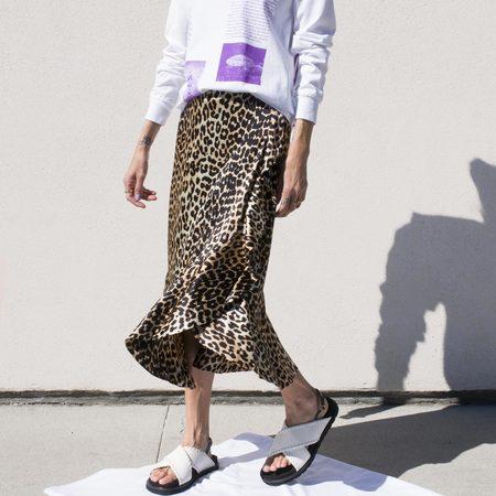 Ganni Silk Stretch Skirt - Leopard Print