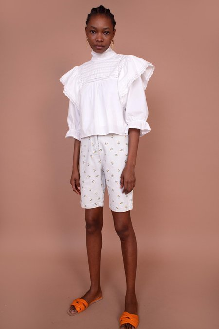 Meadows Begonia Shorts - White/Daisy Embroidery