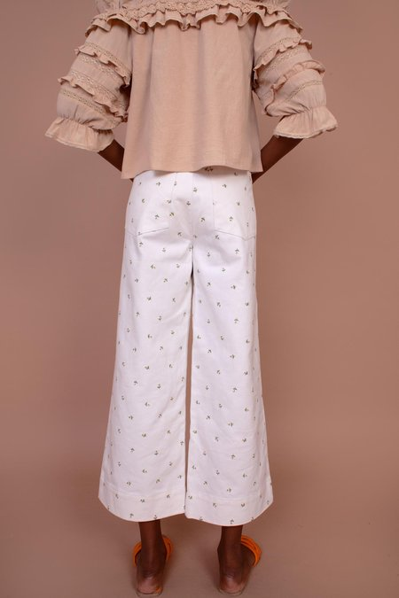 Meadows Hana Jeans - White/Daisy Embroidery