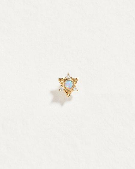 Pamela Love Piercing SINGLE Celestial Star Stud - 14k gold/opal/diamond