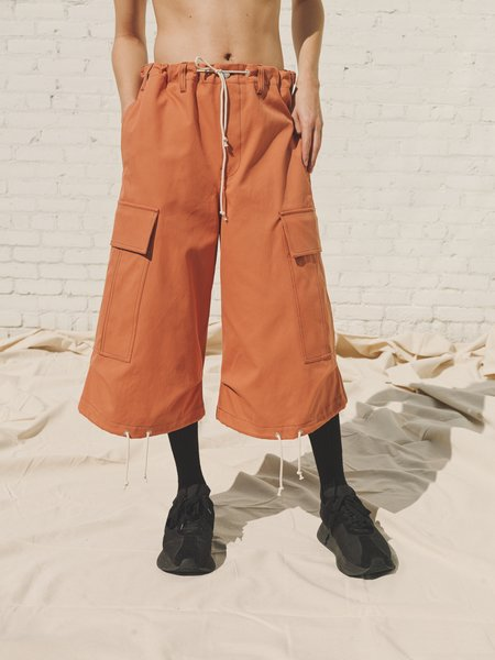 Marni Cotton Duck Oversized Drawstring Cargo Shorts - Ochre