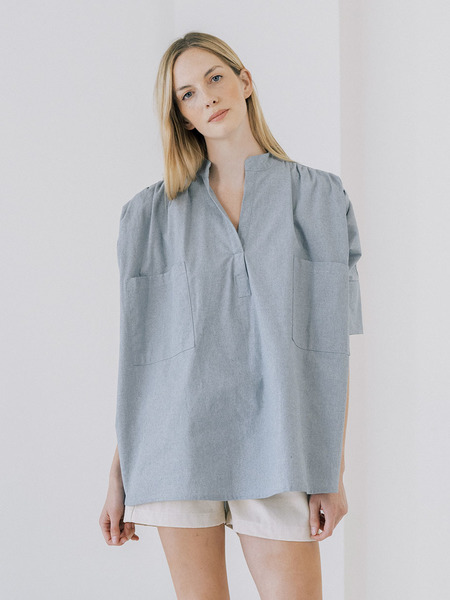 LAUDE the Label Split Neck Top - Chambray